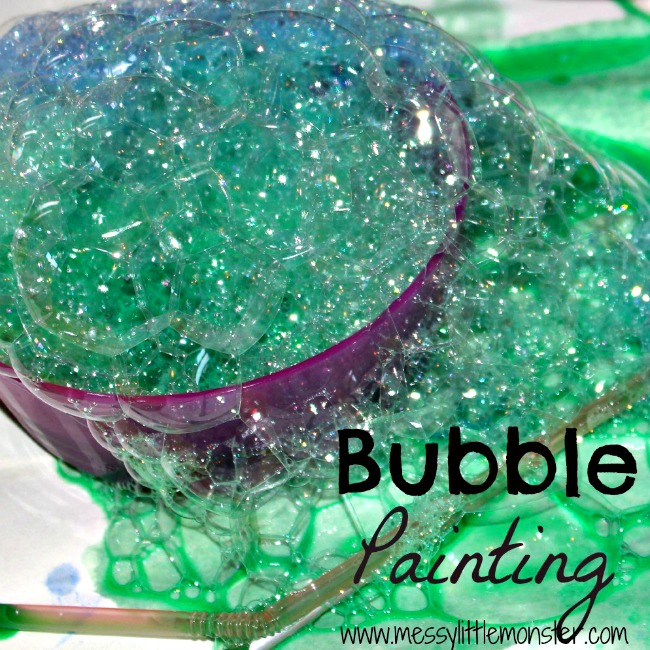bubble painting messy little monster