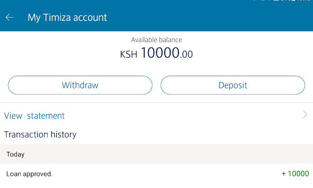 Timiza App by Barclays loan approved