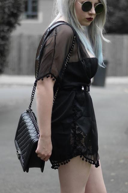 Sammi Jackson - Choies Black Lace Dress / Oasap Black Sheer Kimono