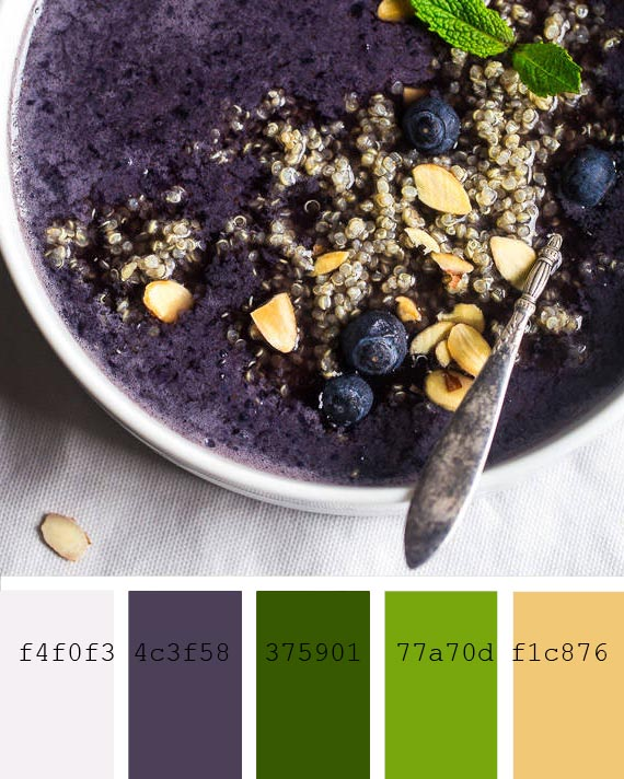blueberry and quinoa smoothie recipe and color palette