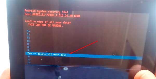 restaurar de fábrica Tablet Acer Iconia B1