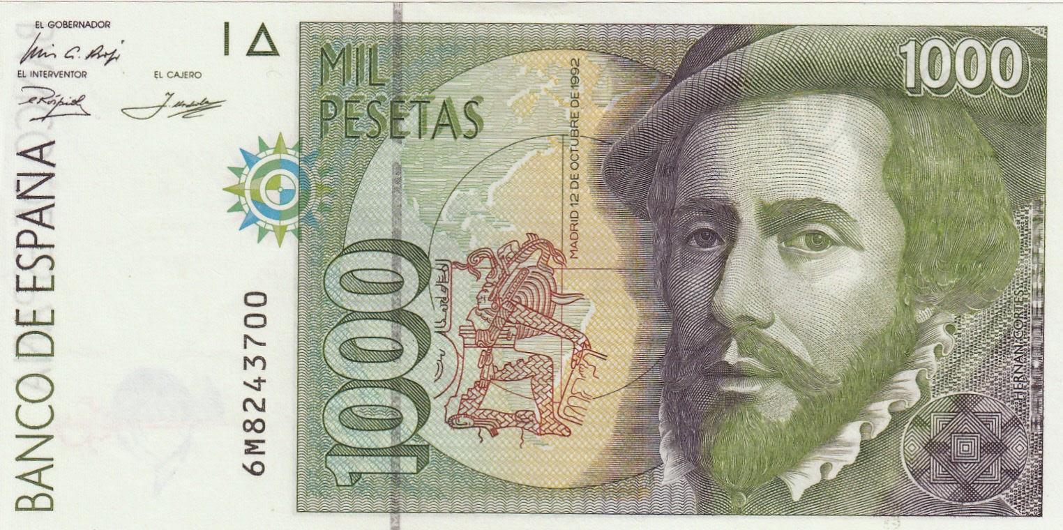 Spain Banknotes 1000 Pesetas banknote 1992 Hernan Cortes