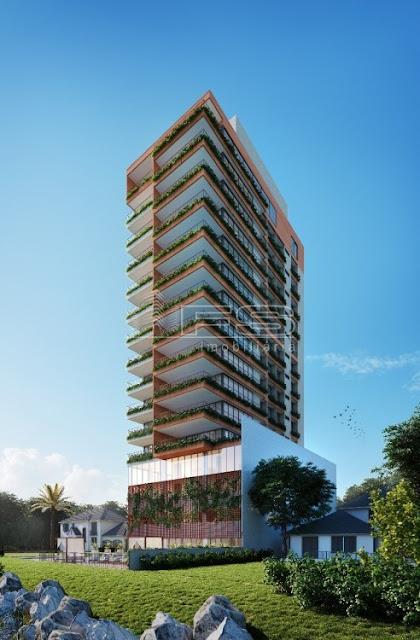 V1990 - RAVELLO CASAS SUSPENSAS - Apartamentos 3 suítes com piscina privativa na sacada - Quadra do Mar - Meia Praia - Itapema/SC