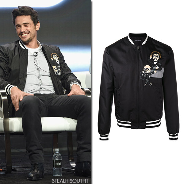 James Franco at TCA Summer press tour in black patch bomber jacket dolce gabbana july 2017 tca tour
