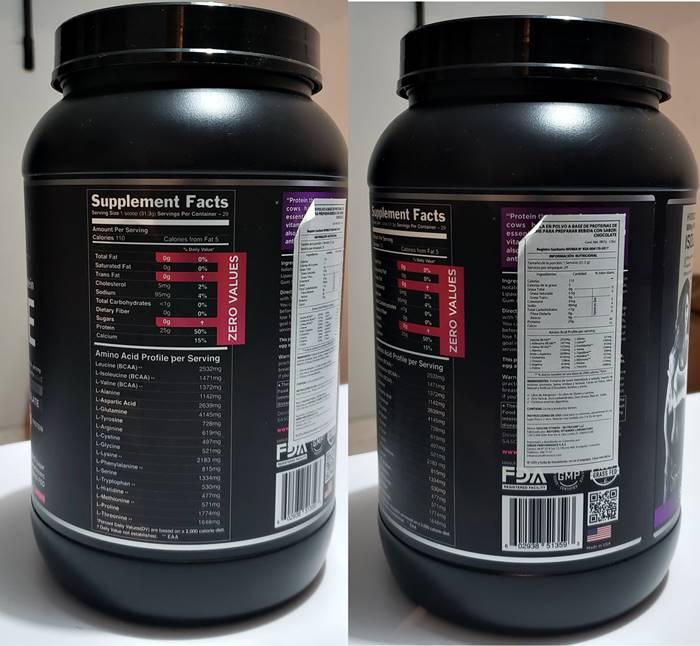 Whey protein de Sascha fitness: información nutricional