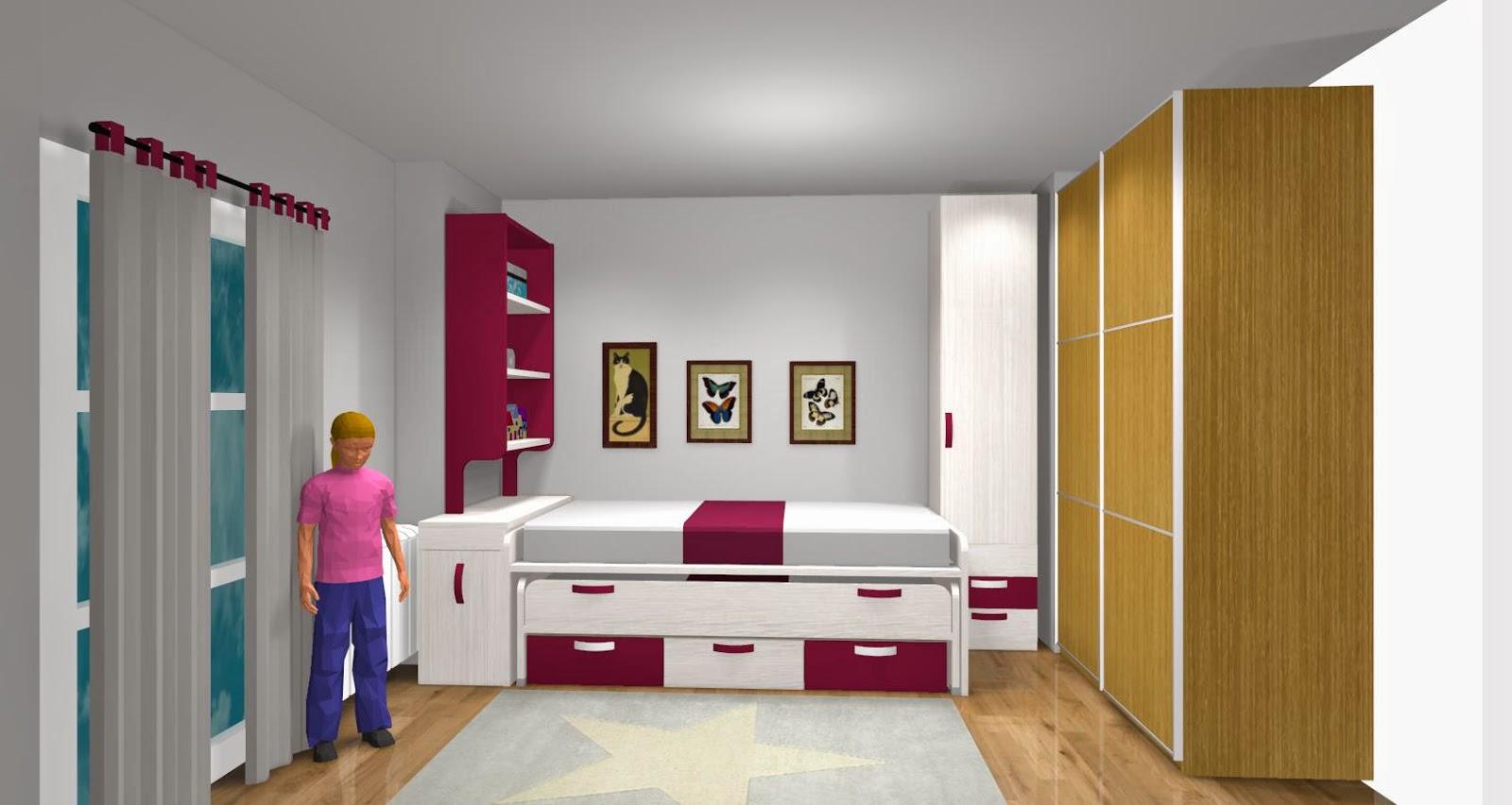 Habitacion infantil lacada compuesta por cama nido con for Dormitorios para 4 ninas
