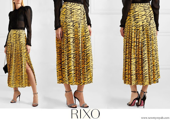 Crown Princess Mette-Marit wore RIXO Tina pleated tiger print silk crepe de chine skirt