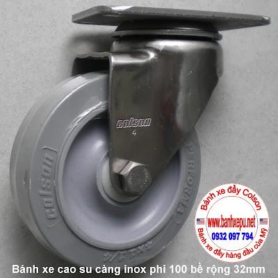 bánh xe đẩy cao su đặc càng inox colson lăn không để vết www.banhxepu.net