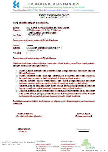 Surat Perjanjian Kerja Cv Karya Kertas Mandiri Karya
