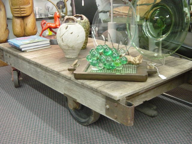 Newport Avenue Antiques Vintage Industrial Factory Wood Metal Dolly Cart Coffee Table