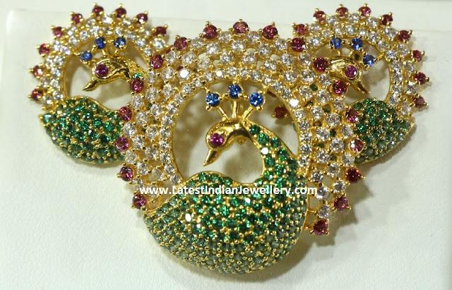 cz peacock pendant set