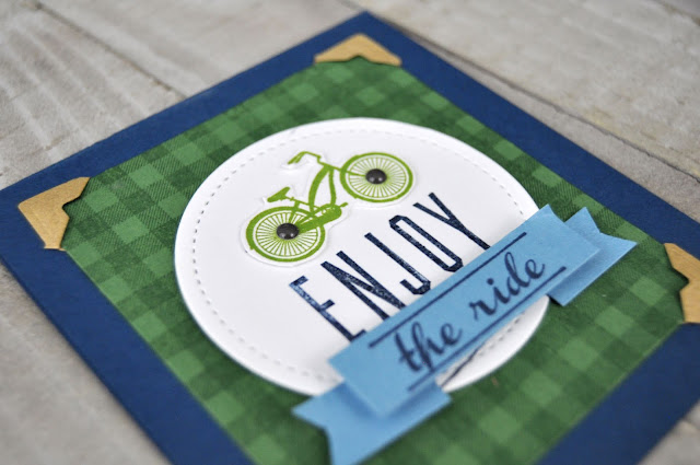 Enjoy the Ride stamped card featuring a Hampton Art wooden stamp. Card designed by Jen Gallacher for Jillibean Soup. #jillibeansoup #acmoore #stamping #card