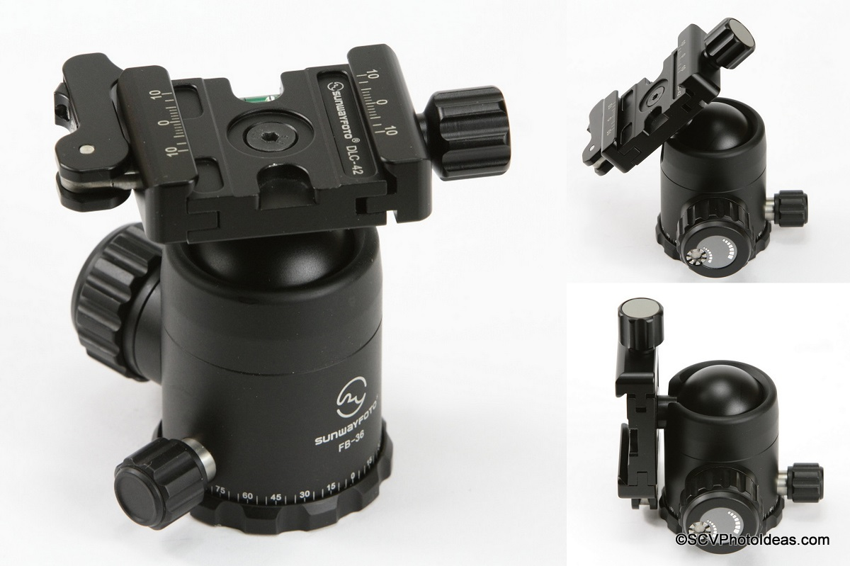 Sunwayfoto FB-36DL Ball Head lever clamp and positioning