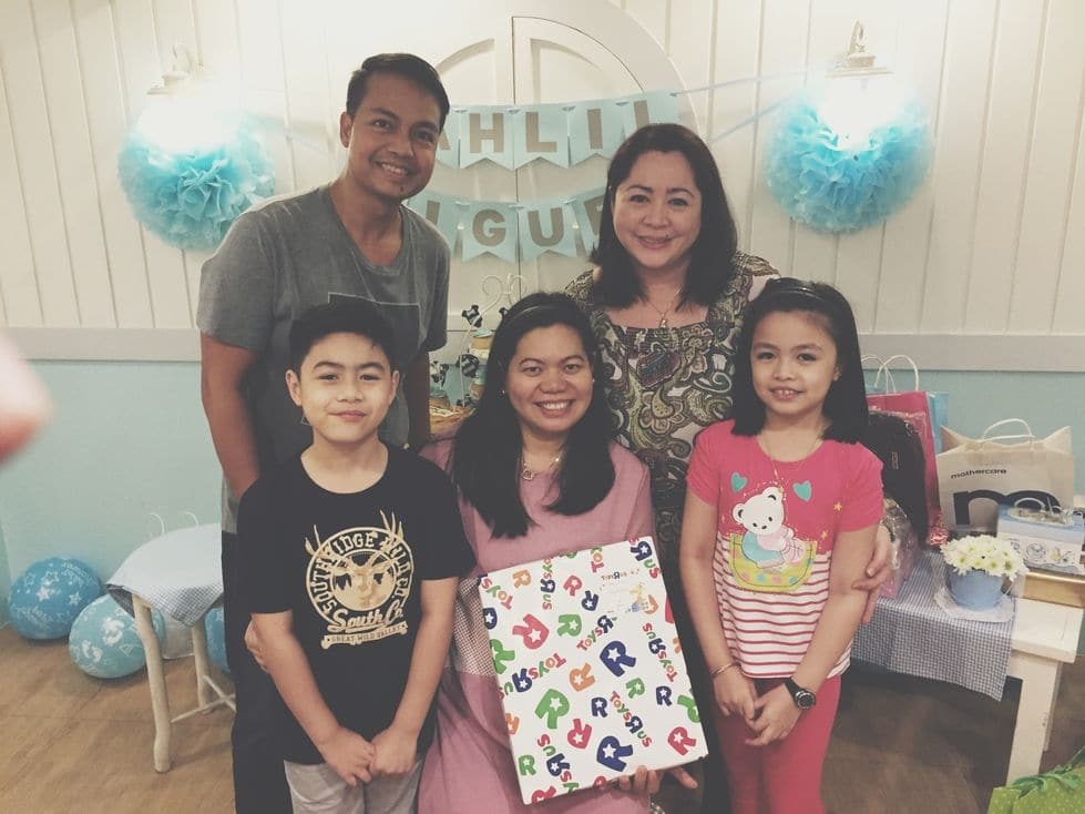 Photo with my boss and her kids during our Stacy's BGC baby shower