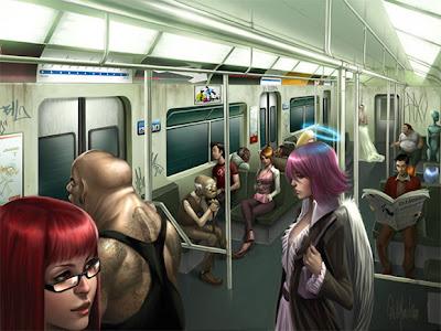 Ilustración de un un ángel en el metro
