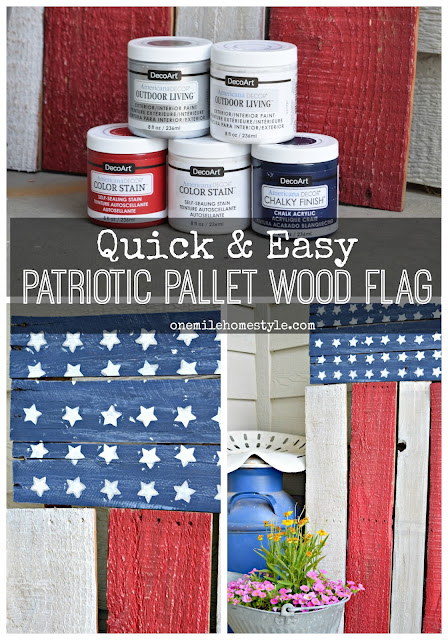 Want to add a patriotic touch to your home's front porch at the last minute? This super easy DIY Pallet Wood Flag can be created in a flash!  - One Mile Home Style
