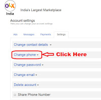 how to change mobile number in olx
