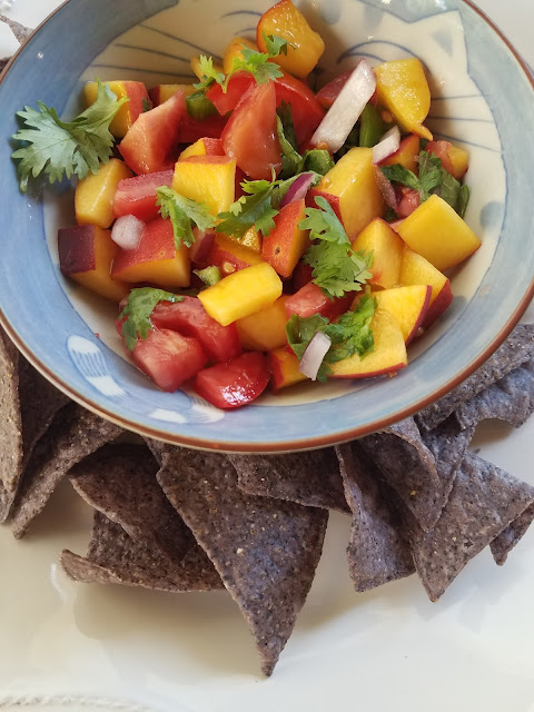 Peach Salsa with chips