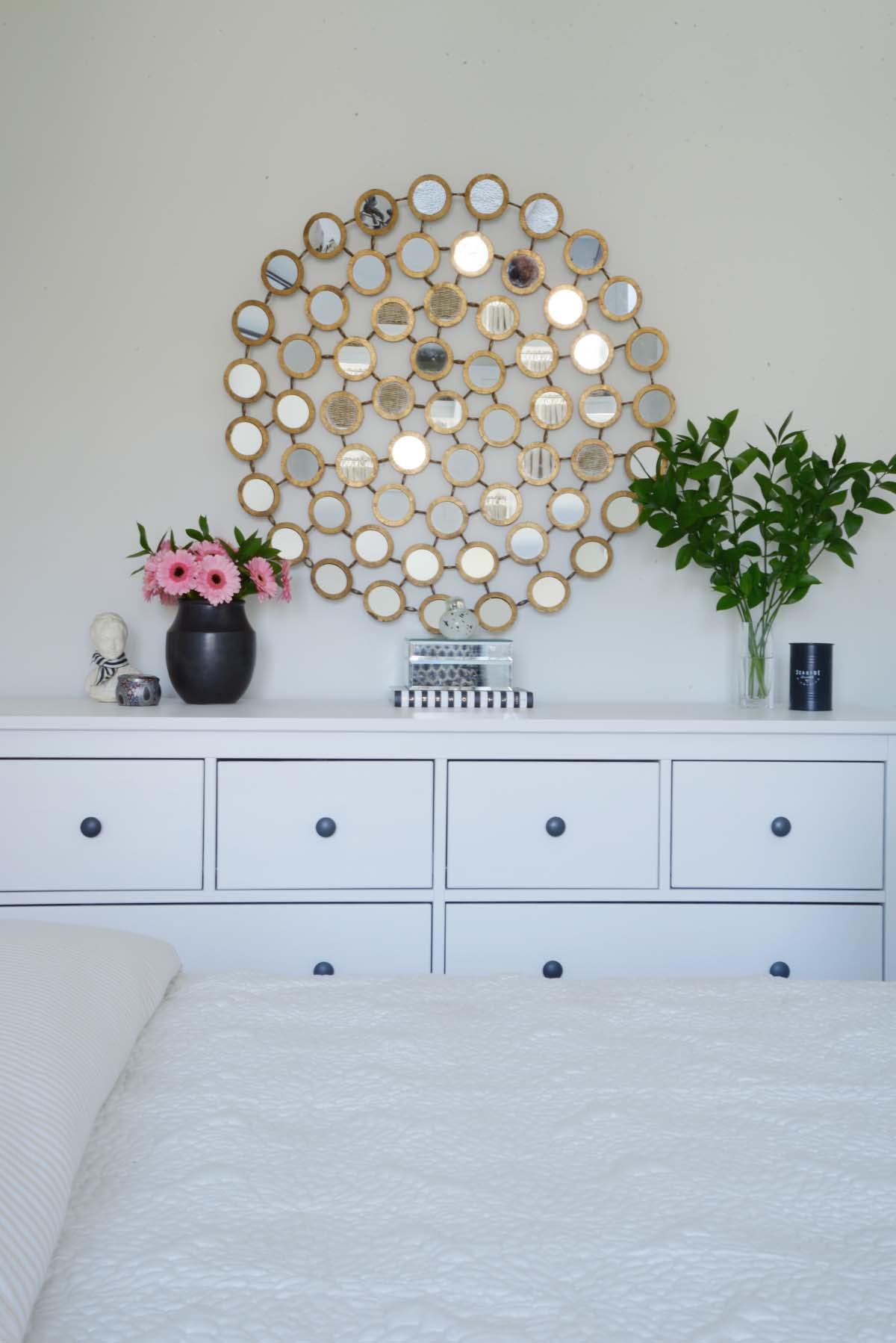 round mirror, guest bedroom dresser, hemnes dresser