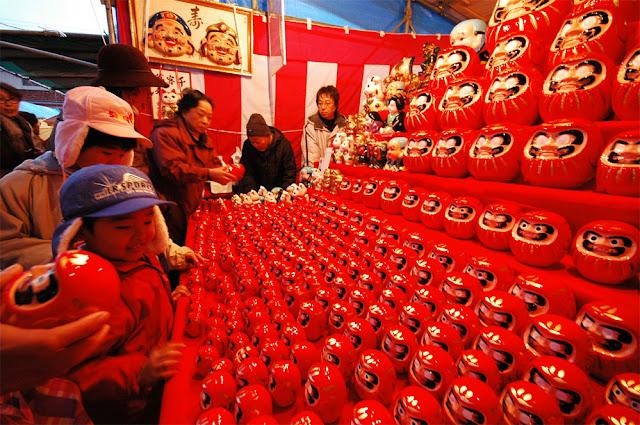 Daruma Ichi (Dharma Doll Fair), Tsuruoka City, Yamagata Pref.