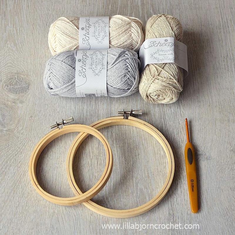 Crochet border around embroidery hoop - FREE pattern by Lilla Bjorn Crochet