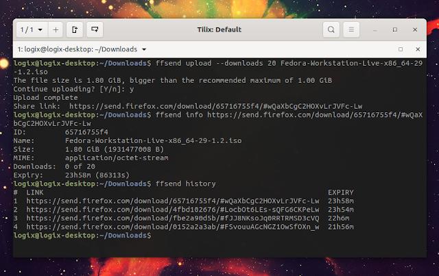 ffsend command line Firefox Send client