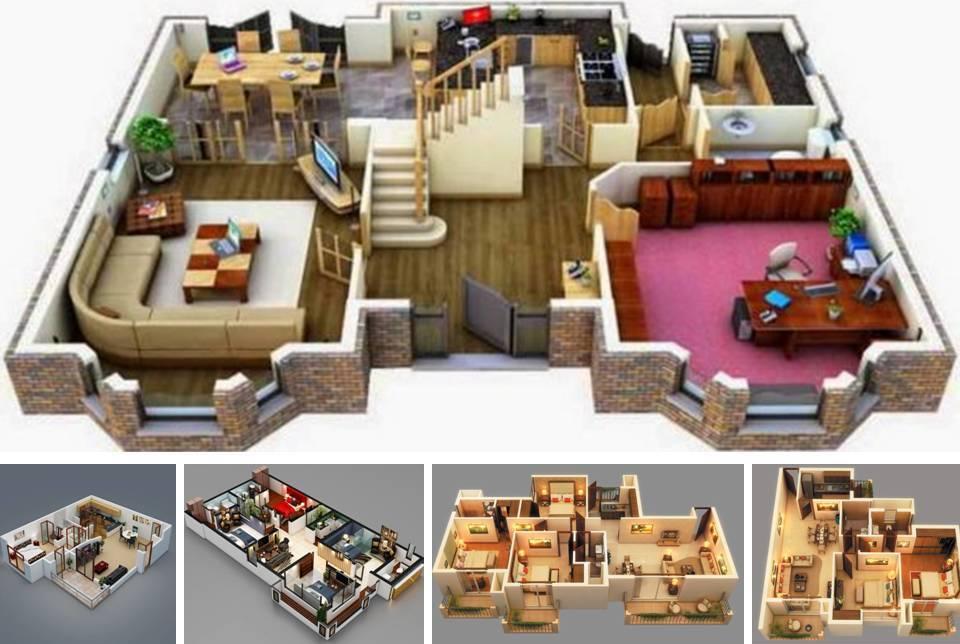 20 Stylish Modern Home 3D Floor Plans