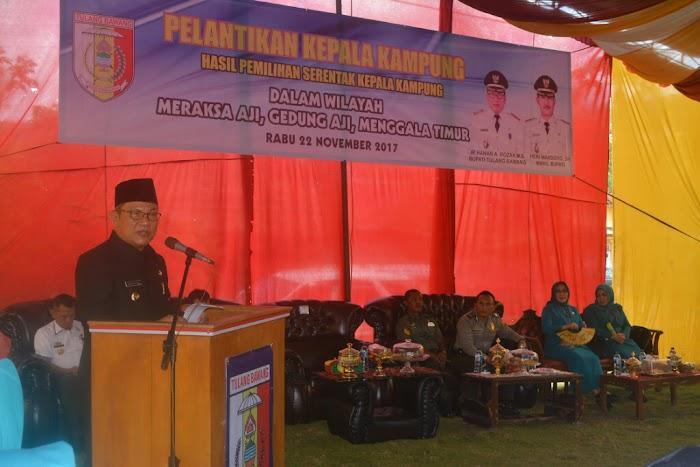 Bupati Tulang Bawang Melantik 5 Kepala Kampung Yang Terpilih Di 3 Kecamatan