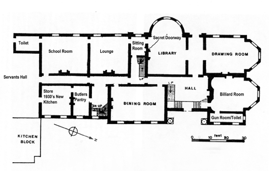 Fig.3. Sketch plan of ground floor, measured and drawn by the author. (Courtesy of Hertfordshire Records Office)