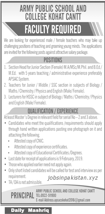 Advertisement for Army Public School & College Jobs 2019