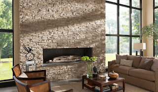 wondrous stoned fireplace with brown seating area interiors plus glass wall also white lamp idea