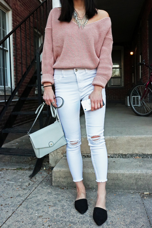 White Jeans, Blush Pink, and Black Mules For Spring