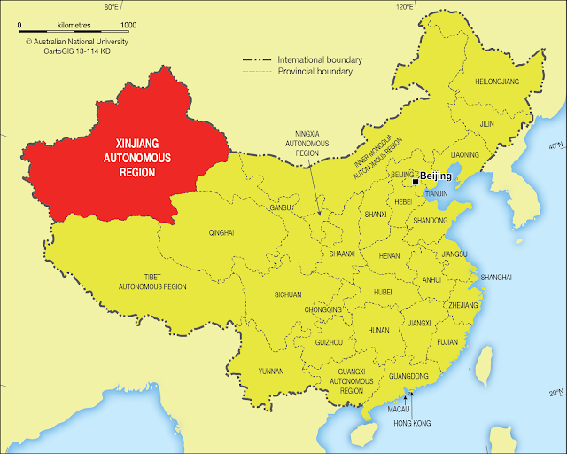 Map of china showing the Xinjiang autonomous region
