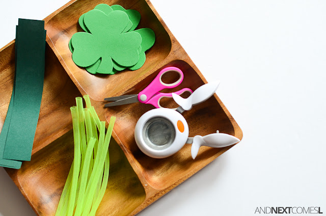 St. Patrick's Day activity for kids: fine motor tray from And Next Comes L