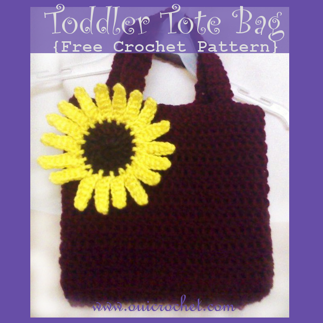 Crochet, Free Crochet Pattern, Crochet Bag, Crochet Tote Bag, Crochet Toddler Tote Bag,