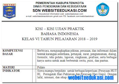 Kisi-kisi Ujian Praktek Bahasa Indonesia SD/MI Tahun 2019