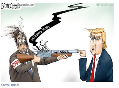 Trump fingers Buzzed and CNN - cartoon by A.F. Branco