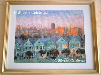 Painted Ladies embroidered cross-stitch Silvana Calabrese Loving San Francisco