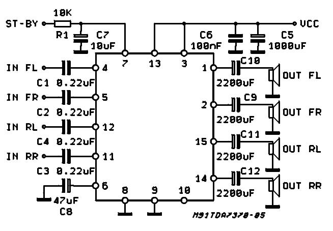 tda7381 4 x 25w quad audio amplifier