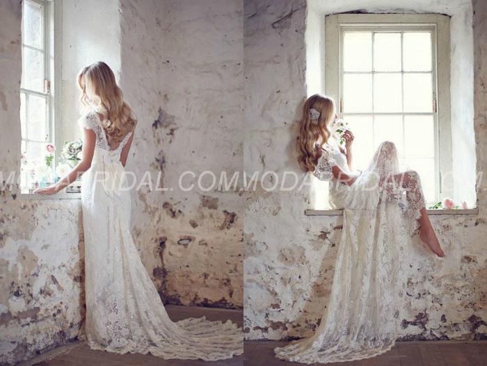 Boutique Floor-Length Lace A-Line Bowknot Decoration Wedding Dress, amodabridal, vestido de noiva