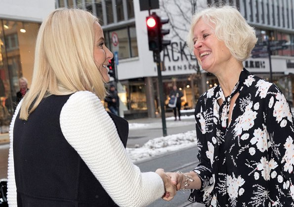 Crown Princess Mette-Marit became patron of the Norwegian Council for Mental Health in 2001. Princess Mette-Marit recycled her long black vest