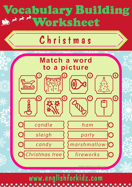 Word to picture matching Christmas worksheet