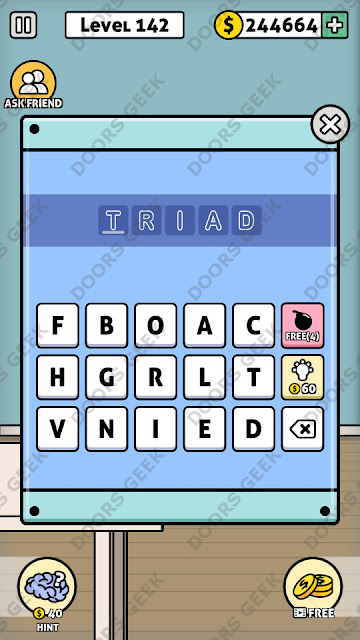 The answer for Escape Room: Mystery Word Level 142 is: TRIAD