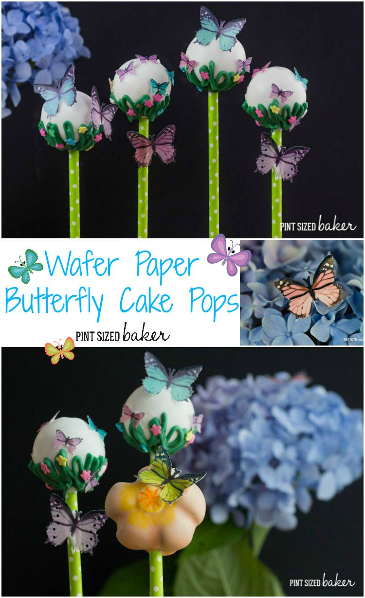 Edible Wafer Paper Butterflies look amazing on these easy cake pops. They'd be great for a party!