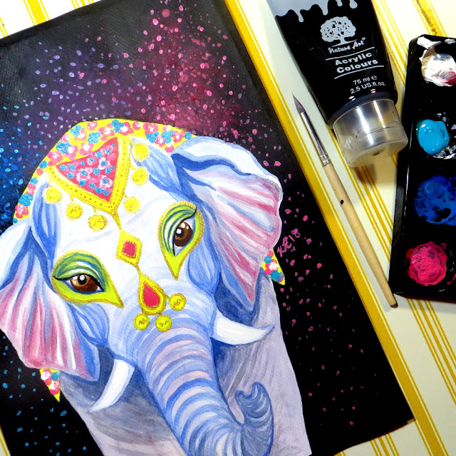 watercolor acrylic mixed media elephant portrait