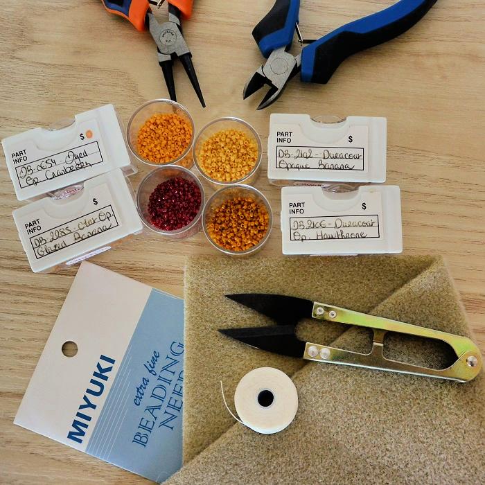 pinces, boites de rangement, aiguilles, fil, ciseaux de précision, pour le tissage peyote, brickstitch, loom, en perles miyuki
