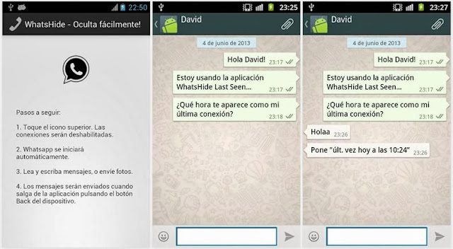android, whatsapp ultima conexcion, ocultar whatsapp
