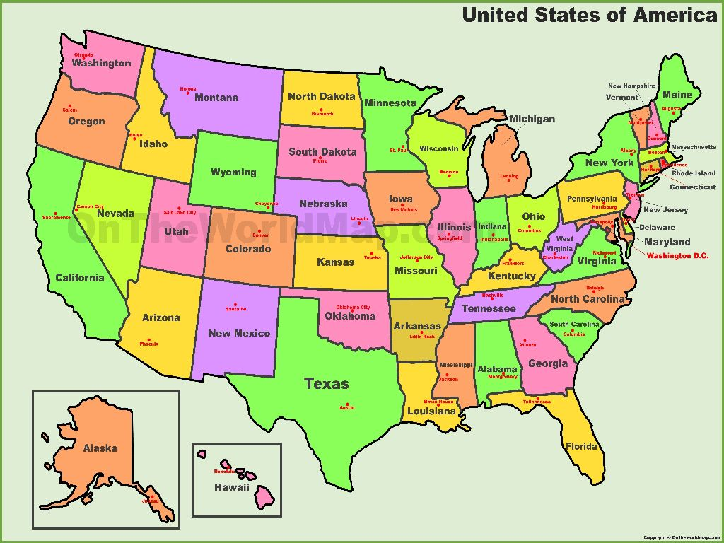 map of the united states states and capitals