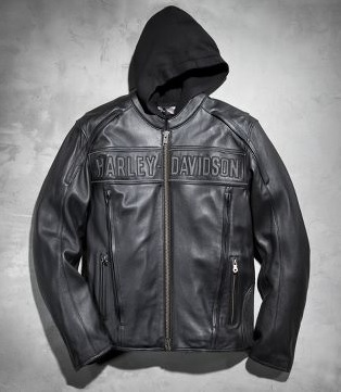 Gambar Jaket Kulit Harley Davidson Asli dengan Hoodie