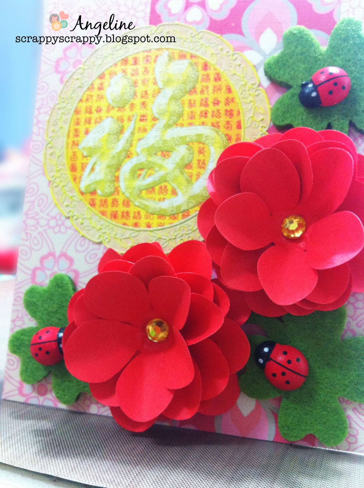 happy chinese new year card  diy flowers  scrappy scrappy